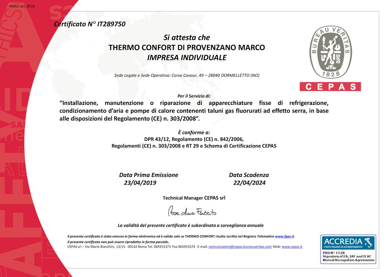 CERTIFICATO-F-GAS-2019-THERMO-CONFORT-DI-PROVENZANO-MARCO---REG.-303